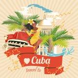 Ζωηρόχρωμη έννοια καρτών ταξιδιού της Κούβας Αφίσα ταξιδιού με το αναδρομικούς αυτοκίνητο και το χορευτή Salsa Διανυσματική απεικ απεικόνιση αποθεμάτων