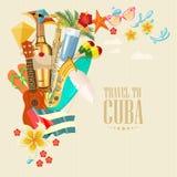 Ζωηρόχρωμη έννοια καρτών ταξιδιού της Κούβας Αφίσα ταξιδιού Διανυσματική απεικόνιση με τον κουβανικό πολιτισμό απεικόνιση αποθεμάτων