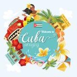 Ζωηρόχρωμη έννοια καρτών ταξιδιού της Κούβας Καλωσορίστε στην κατάπληξη της Κούβας Διανυσματική απεικόνιση με τον κουβανικό πολιτ διανυσματική απεικόνιση