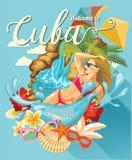 Ζωηρόχρωμη έννοια καρτών ταξιδιού της Κούβας παραθαλάσσιο θέρετρο Καλωσορίστε στην Κούβα μορφή κύκλων Διανυσματική απεικόνιση με  απεικόνιση αποθεμάτων