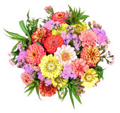 Ζωηρόχρωμη δέσμη των λουλουδιών με την ντάλια και τη Zinnia Στοκ εικόνες με δικαίωμα ελεύθερης χρήσης