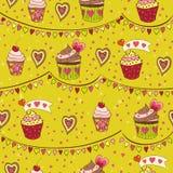 Ζωηρόχρωμη αγάπη cupcakes Στοκ Εικόνα
