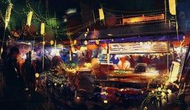 Ζωηρόχρωμη αγορά τη νύχτα, μετακίνηση στο περπάτημα ανθρώπων Στοκ Εικόνες
