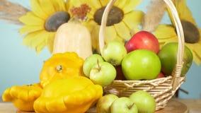 Ζωηρόχρωμη ακόμα-ζωή σε ένα χρωματισμένο υπόβαθρο Κολοκύθα, κολοκύνθη, μήλα Συγκομιδή 4k φθινοπώρου απόθεμα βίντεο