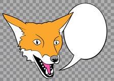 Ζωηρόχρωμη αλεπού με τη λεκτική φυσαλίδα διανυσματική απεικόνιση