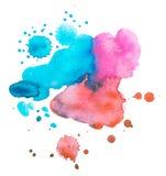 Ζωηρόχρωμη αναδρομική εκλεκτής ποιότητας περίληψη watercolour/χρώμα χεριών τέχνης ακουαρελών στο άσπρο υπόβαθρο Στοκ Εικόνα