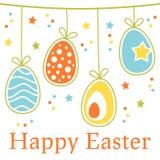 Ζωηρόχρωμη αναδρομική ευτυχής κάρτα Πάσχας με τα αυγά απεικόνιση αποθεμάτων