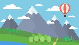 Ζωηρόχρωμη απεικόνιση κινούμενων σχεδίων ενός τοπίου βουνών με έναν λόφο, ένα δάσος και μια λίμνη σε ένα χλοώδες λιβάδι κάτω από  Στοκ Εικόνες