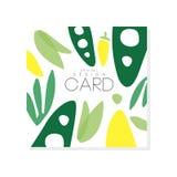 Ζωηρόχρωμη απεικόνιση με τα αφηρημένα λαχανικά τρόφιμα υγιή Οργανική διατροφή Συρμένο χέρι διανυσματικό σχέδιο για το παντοπωλείο ελεύθερη απεικόνιση δικαιώματος