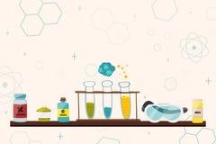 Ζωηρόχρωμη απεικόνιση με τα επιστημονικά όργανα και εξοπλισμός για την έρευνα διάνυσμα διανυσματική απεικόνιση