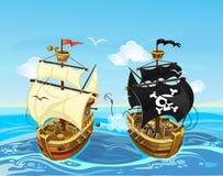 Ζωηρόχρωμη απεικόνιση με τη μάχη σκαφών πειρατών στη θάλασσα διάνυσμα διανυσματική απεικόνιση