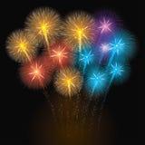 Ζωηρόχρωμη απεικόνιση πυροτεχνημάτων Στοκ Εικόνες
