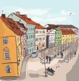 Ζωηρόχρωμη απεικόνιση πόλης οδών Στοκ φωτογραφία με δικαίωμα ελεύθερης χρήσης