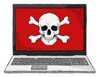 Ζωηρόχρωμη απεικόνιση ύφους σκίτσων του σημειωματάριου με τον ιό υπολογιστών Στοκ εικόνες με δικαίωμα ελεύθερης χρήσης