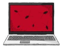 Ζωηρόχρωμη απεικόνιση ύφους σκίτσων του σημειωματάριου που μολύνεται από τα ζωύφια υπολογιστών απεικόνιση αποθεμάτων