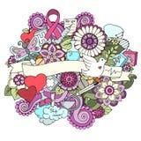 Ζωηρόχρωμη απεικόνιση doodle μήνα συνειδητοποίησης καρκίνου του μαστού ιατρικό optometrist ματιών διαγραμμάτων ανασκόπησης απεικόνιση αποθεμάτων
