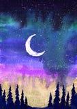 Ζωηρόχρωμη απεικόνιση watercolor του φεγγαριού, των βόρειων φω'των και των έλατων Στοκ Φωτογραφία