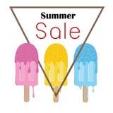 Ζωηρόχρωμη αφίσα συμβόλων παγωτών θερινής πώλησης Στοκ εικόνα με δικαίωμα ελεύθερης χρήσης