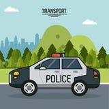 Ζωηρόχρωμη αφίσα της μεταφοράς με το περιπολικό της Αστυνομίας στα περίχωρα της πόλης ελεύθερη απεικόνιση δικαιώματος