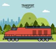Ζωηρόχρωμη αφίσα της μεταφοράς με το τραίνο στα περίχωρα της πόλης απεικόνιση αποθεμάτων