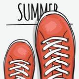 Ζωηρόχρωμη αφίσα Sportingly για να διαφημίσει τα αθλητικά παπούτσια Πηγαίνετε το καλοκαίρι διάνυσμα ελεύθερη απεικόνιση δικαιώματος