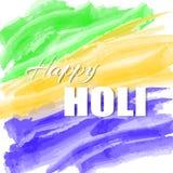 Ζωηρόχρωμη αφηρημένη υπόβαθρο ή ευχετήρια κάρτα watercolor για το ινδικό παραδοσιακό φεστιβάλ Ευτυχές αφίσα Holi ή πρότυπο αφισσώ Στοκ Εικόνες