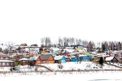 Ζωηρόχρωμη γειτονιά το χειμώνα - Plios, Ρωσία Στοκ Εικόνα