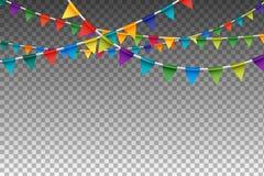 Ζωηρόχρωμη γιρλάντα με τις σημαίες κόμματος επίσης corel σύρετε το διάνυσμα απεικόνισης στοκ εικόνες με δικαίωμα ελεύθερης χρήσης