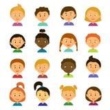 ζωηρόχρωμη γραφική απεικόνιση παιδιών χαρακτηρών κινουμένων σχεδίων Ύφος επίπεδο Στοκ Εικόνα