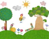ζωηρόχρωμη γραφική απεικόνιση παιδιών χαρακτηρών κινουμένων σχεδίων Στοκ Φωτογραφία