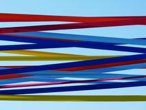 Ζωηρόχρωμη διακόσμηση κορδελλών υφάσματος πέρα από την περιοχή κομμάτων στοκ εικόνα