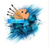 Ζωηρόχρωμη διανυσματική έννοια στοιχείων κινούμενων σχεδίων εργαλείων σχεδίων Προμήθειες τέχνης: παλέτα, βούρτσες, υπόβαθρο water διανυσματική απεικόνιση