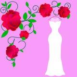 Ζωηρόχρωμη διανυσματική απεικόνιση φορεμάτων νυφών κοστουμιών σκιαγραφιών ελεύθερη απεικόνιση δικαιώματος