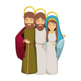 Ζωηρόχρωμη εικόνα με τον Ιησού που αγκαλιάζεται σε παρθένους Mary και Άγιο Joseph απεικόνιση αποθεμάτων
