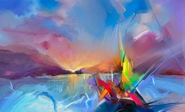 Ζωηρόχρωμη ελαιογραφία στη σύσταση καμβά Ημι αφηρημένη εικόνα seascape των έργων ζωγραφικής με το υπόβαθρο φωτός του ήλιου απεικόνιση αποθεμάτων