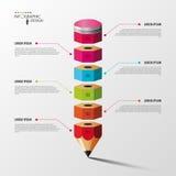Ζωηρόχρωμη επιλογή βημάτων Infographics μολυβιών διάνυσμα Στοκ Εικόνες