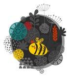 Ζωηρόχρωμη ετικέτα με τη μέλισσα και τα λουλούδια Στοκ φωτογραφία με δικαίωμα ελεύθερης χρήσης