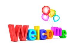 Ζωηρόχρωμη ευπρόσδεκτη λέξη με τα μπαλόνια στην άσπρη ανασκόπηση απεικόνιση αποθεμάτων