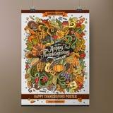 Ζωηρόχρωμη ευτυχής αφίσα ημέρας των ευχαριστιών κινούμενων σχεδίων Doodles Στοκ Φωτογραφία