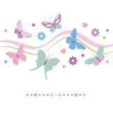 Ζωηρόχρωμη ευχετήρια κάρτα λουλουδιών και καρδιών πεταλούδων απεικόνιση αποθεμάτων