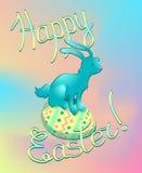 Ζωηρόχρωμη ευχετήρια κάρτα Πάσχας με το κουνέλι στο αυγό Στοκ εικόνα με δικαίωμα ελεύθερης χρήσης