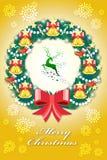 Ζωηρόχρωμη ευχετήρια κάρτα Χριστουγέννων στα διακριτικά διανυσματική απεικόνιση