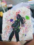Ζωηρόχρωμη ζωγραφική εγκύων γυναικών στοκ φωτογραφία