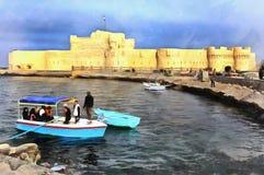 Ζωηρόχρωμη ζωγραφική της ακρόπολης Qaitbay στοκ εικόνες με δικαίωμα ελεύθερης χρήσης
