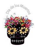 Ζωηρόχρωμη ημέρα κρανίων ζάχαρης νεκρή concept dia de Los muertos ελεύθερη απεικόνιση δικαιώματος