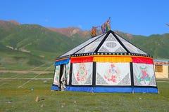 Ζωηρόχρωμη θιβετιανή σκηνή στο θιβετιανό οροπέδιο Στοκ Εικόνες