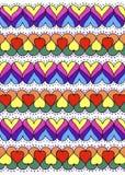 Ζωηρόχρωμη διακόσμηση των καρδιών αφηρημένη σύσταση γραφικής παράστασης ανασκόπησης παραγμένη υπολογιστής συρμένο χέρι απεικόνιση αποθεμάτων