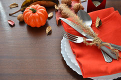 Ζωηρόχρωμη διακόσμηση φθινοπώρου για το εορταστικό γεύμα Στοκ φωτογραφία με δικαίωμα ελεύθερης χρήσης