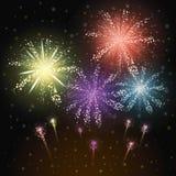 Ζωηρόχρωμη διανυσματική απεικόνιση εορτασμού πυροτεχνημάτων Στοκ εικόνες με δικαίωμα ελεύθερης χρήσης