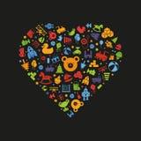 Ζωηρόχρωμη διανυσματική απεικόνιση μορφής καρδιών παιχνιδιών ελεύθερη απεικόνιση δικαιώματος